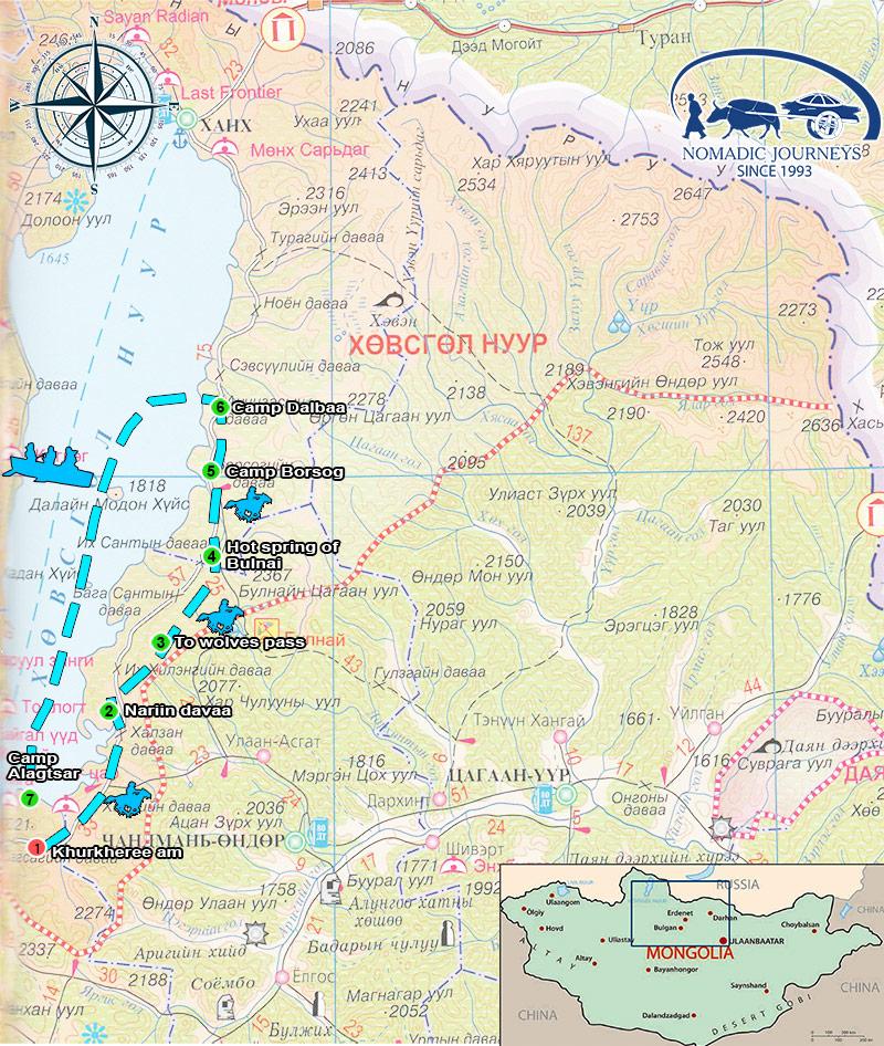 khuvsgul-lake-ride-map